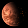 An exoplanet against a background of stars.