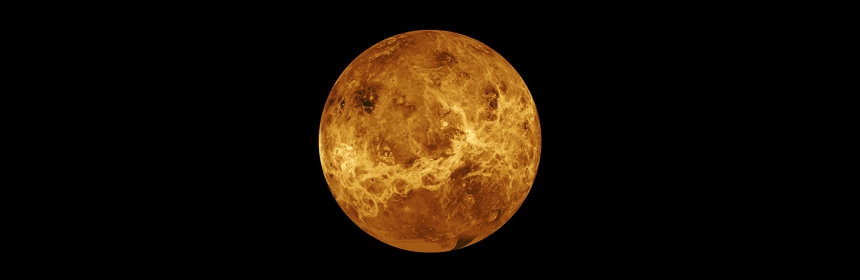 Venus against a black background