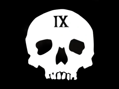 The jawless skull emblem of the Ninth House in the Locked Tomb Trilogy.