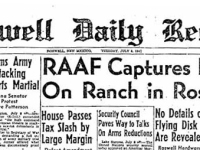 """Image of the Roswell Daily Record (a newspaper) from 1947 with headline: """"RAAF Captures Flying Saucer On Ranch in Roswell Region"""""""